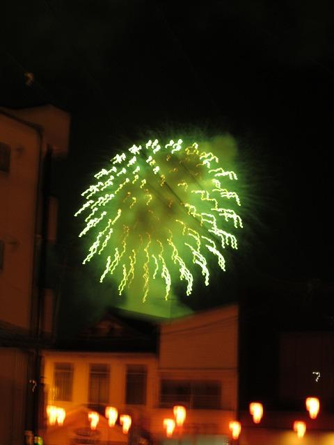 菊池川での花火