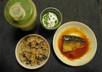 ひじきご飯と鯖の味噌煮