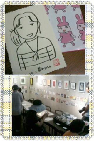 20121001ピース似顔絵と会場様子320x