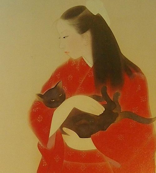 三谷十糸子「猫と娘」