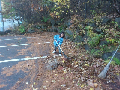 駐車場の大量の落ち葉