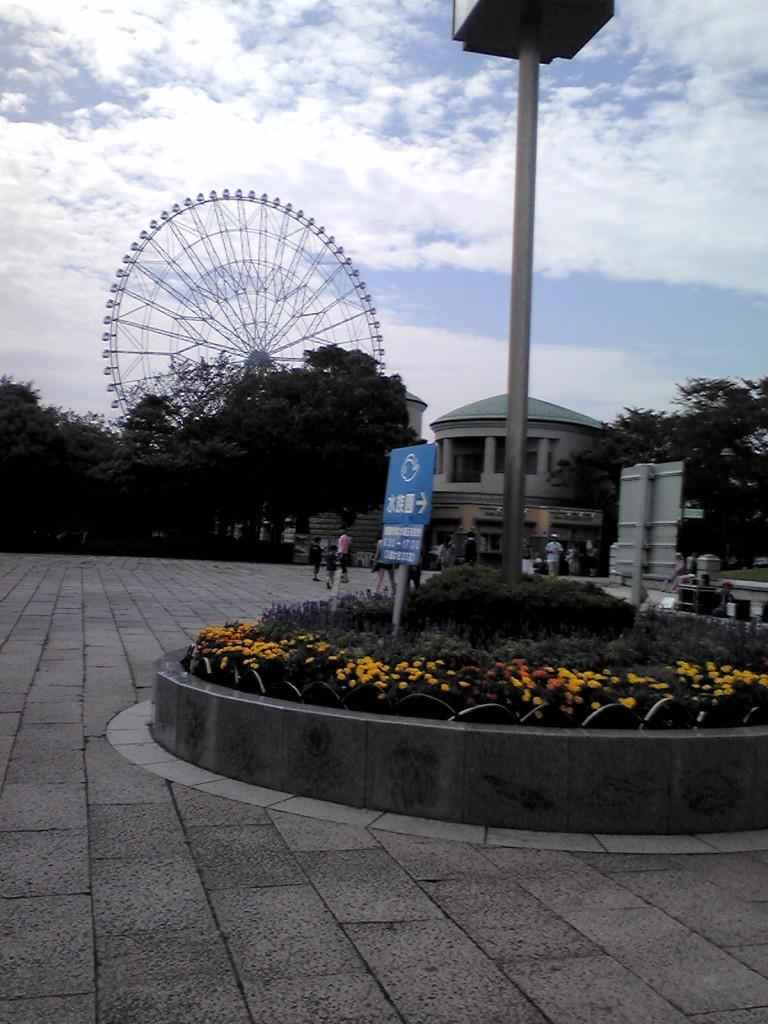 水族館前広場。携帯で撮影