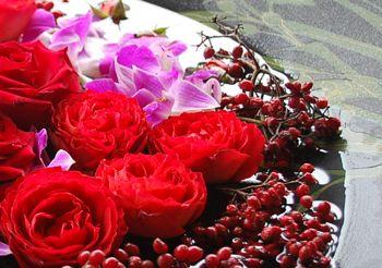 別荘玄関おもてなしの花
