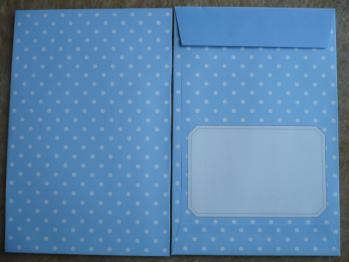 ドット柄・水玉模様のレターセット(ブルー&グリーン)5