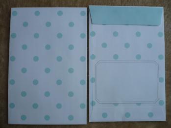 ドット柄・水玉模様のレターセット(ブルー&グリーン)7