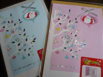 ラメ&サンタクロースのクリスマスカード(ダイソー)20122