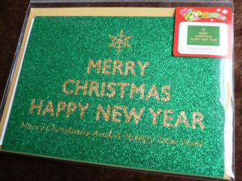 ラメ&サンタクロースのクリスマスカード(ダイソー)20121