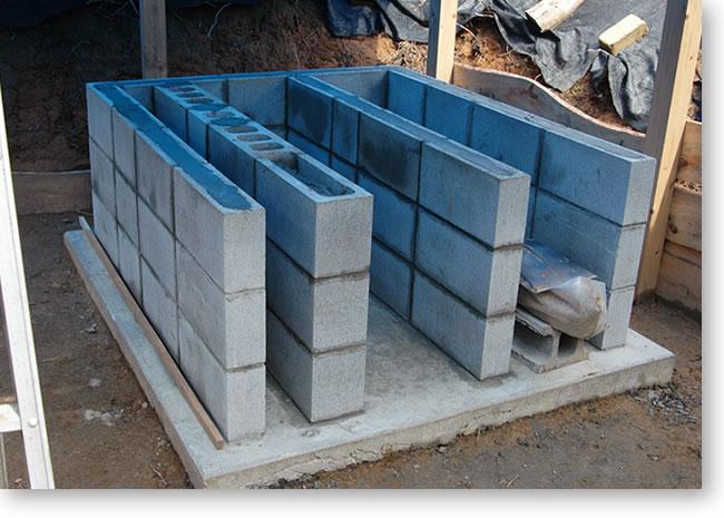 石窯基礎-ブロック積み完成