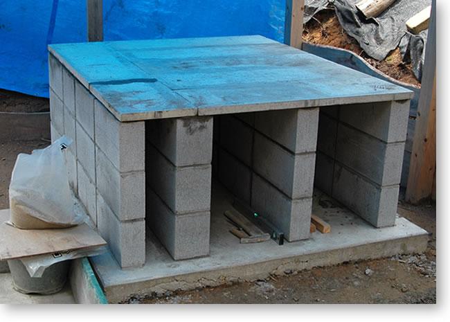 石窯-基礎コンクリートの平板
