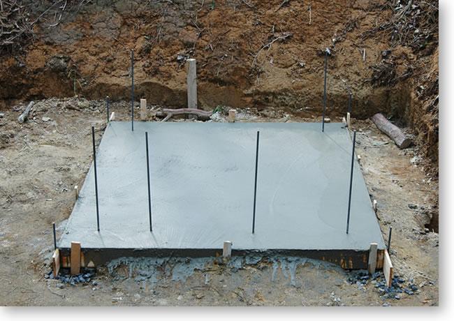 石窯基礎のコンクリート部分が完成