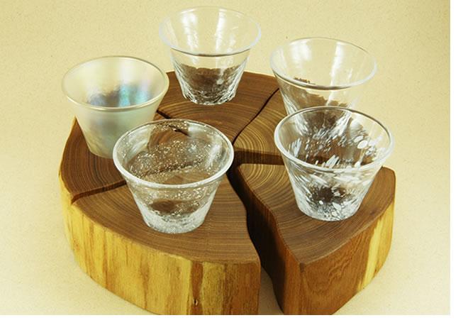 北海道 淳工房の木のグラス酒器5点セット
