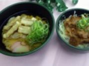 ごぼう天うどんとミニ生姜焼き丼