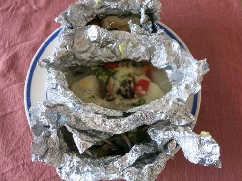 朝ご飯 鱈のチーズホイール焼き