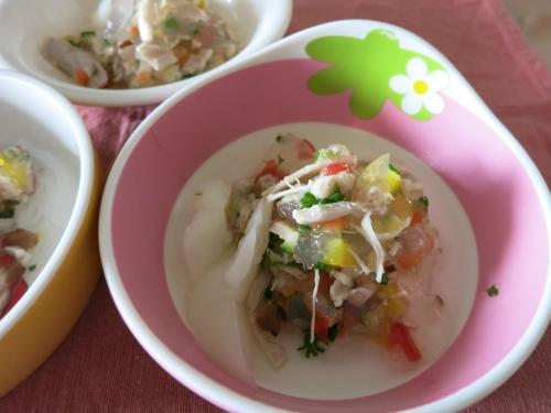 朝ご飯 チキン&野菜たっぷり豆乳ジュレ