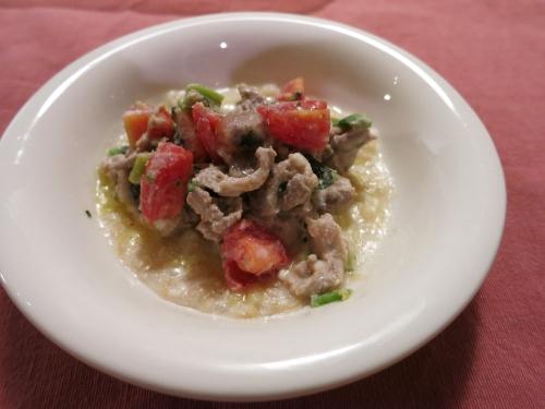 朝ご飯 ラム肉のアヒュージョ