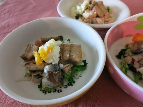 朝ご飯 秋鮭とさんまの蒲焼き丼
