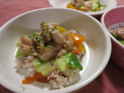夜ご飯 野菜たっぷり親子丼