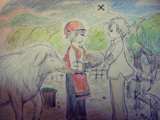 牧場のふたり