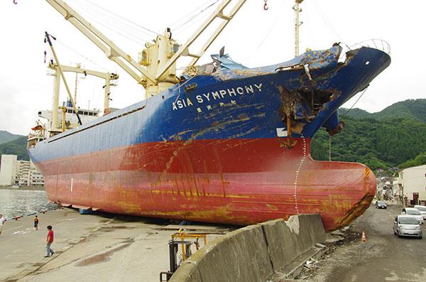 釜石市のタンカー座礁現場