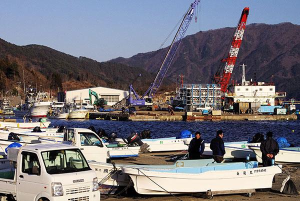 山田町大沢漁港にて