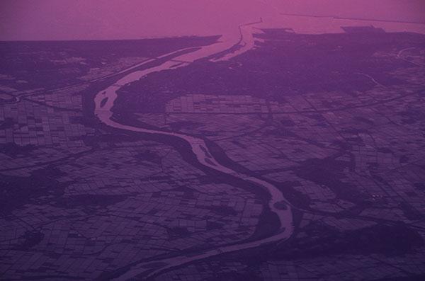 最上川河口部の夕照