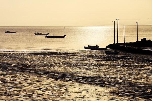 干潮の漁港