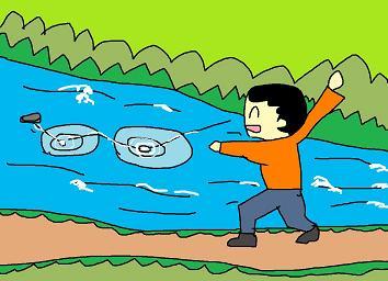 川の石投げ