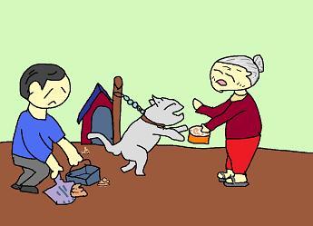 犬を可愛がる婆様