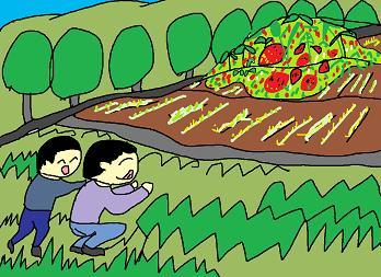 狙いはイチゴ畑