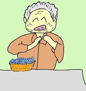 ブルーベリーを食べる婆さん2