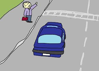 横断歩道で手を振る親父