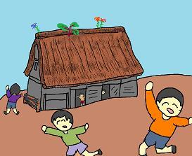 かやぶき屋根の小屋
