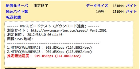 BNR スピードテスト 回線速度/通信速度 測定-1