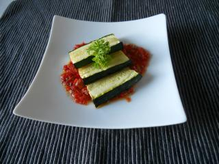 Grilled Zuccini with red sauce