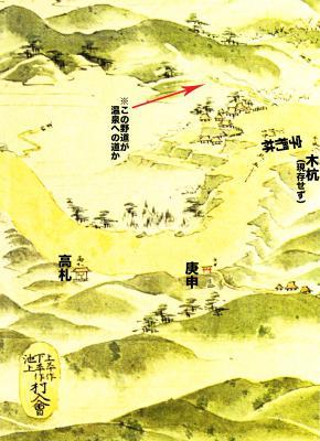 浦賀道見取絵図:椚林付近