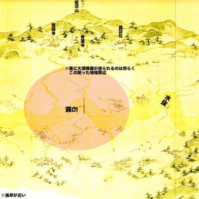 浦賀道見取絵図:後の大津陣屋付近