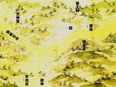 浦賀道見取絵図:溜池付近