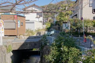 浦賀道(鎌倉):県道より逆川上流を望む