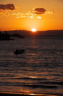 逗子海岸の夕暮れ-1