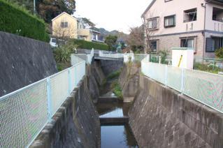 浦賀道(戸塚):道中橋より栗坪川上流を望む