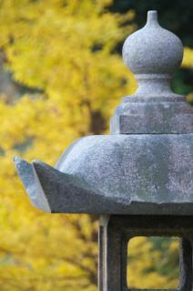 木古庭不動尊の石灯籠-銀杏の黄葉を背景に
