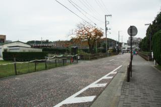浦賀道(戸塚):大津公園越しに京急久里浜線方面を見る