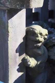 浦賀:西叶神社・玉垣の陰の狛犬