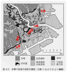 多摩川付近の旧河道と自然堤防分布