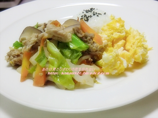 豚肉野菜炒めでワンプレート♪