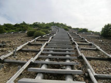 これですかい、山頂への階段