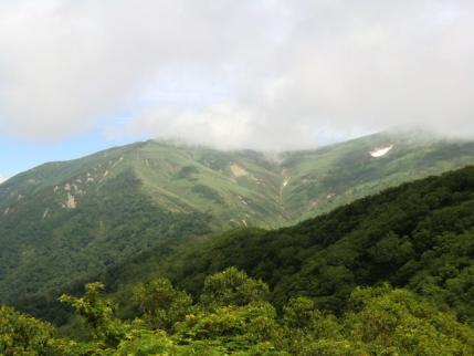 霧にまかれる平標山
