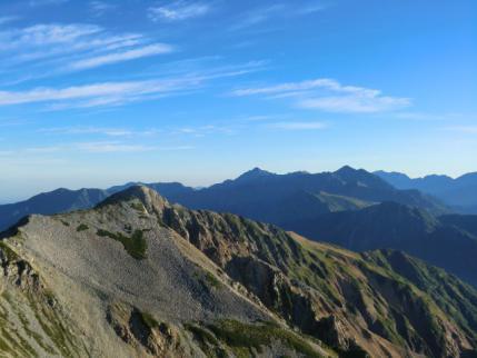 北薬師岳と剣、立山連峰