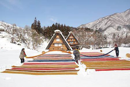 白川郷 冬の風物詩「雪さらし」