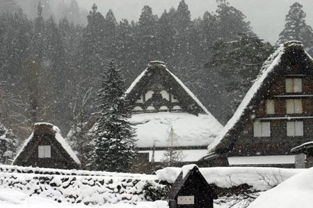 世界遺産 白川郷 ~厳しい冷え込みとなり、氷点下の冬日~茅葺き屋根も雪で白く ①